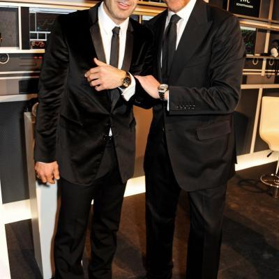 23ENERO2013 Presentación de la nueva colección de la firma de alta joyería IWC, en Ginebra. Figo y Becker.  Foto: IWC.