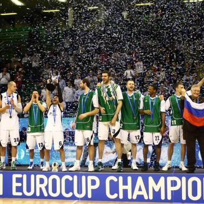 17ABRIL2011 El Unics Kazan fue superior al Cajasol de Sevilla en la final de La Eurocup, jugado en Treviso (Italia).  Foto: Ricard Rovira.
