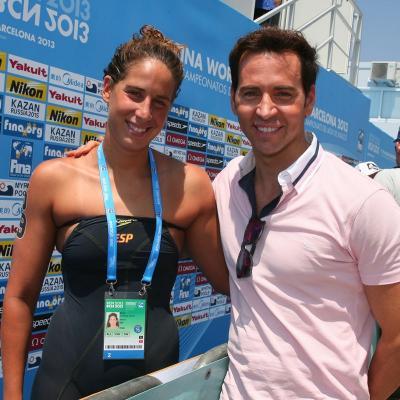 23JULIO2013 Erika Villaécija se queda sin medalla en los 10km. en aguas abiertas. Erika Villaècija recibió la visita de David Meca. Foto: BCN2013.