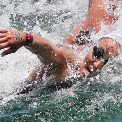 23JULIO2013 Erika Villaécija se queda sin medalla en los 10km. en aguas abiertas. La brasileña en competición. Foto: BCN2013.
