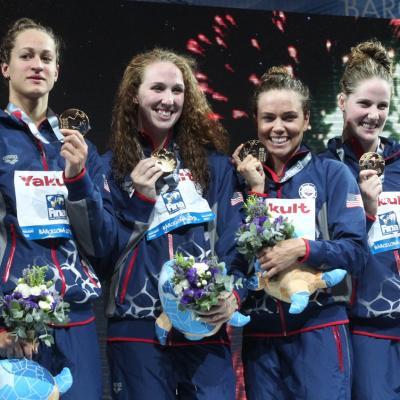 28JULIO2013 España, Francia, Estados Unidos y China protagonistas en el primer día de natación. Estados Unidos ganadoras de relevo. Foto: BCN2013.