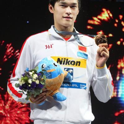 28JULIO2013 España, Francia, Estados Unidos y China protagonistas en el primer día de natación. Yang Sun, medalla oro. Foto: BCN2013. .