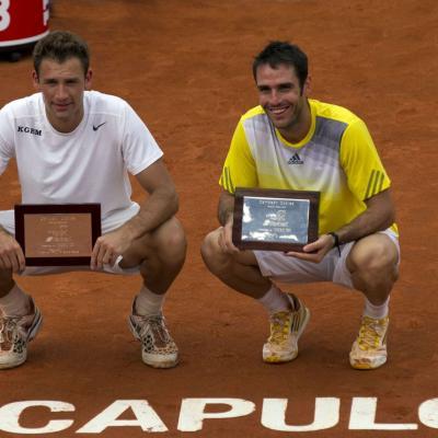 03MARZO2013 Torneo de Acapulco, triunfo de Rafa Nadal. Dobles masculino, Marrero (d). Foto: Abierto México de tenis.