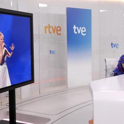 29MAYO2012 Rueda de prensa de Pastora Soler, para hacer balance de su paso por el Festival de Eurovisión. Foto: TVE.