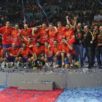 27ENERO2013 España campeona en el Campeonato del Mundo de Balonmano, contra Dinamarca. Foto: Ricard Rovira.