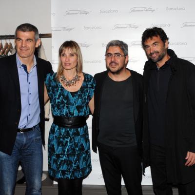 21NOVIEMBRE2013 Inauguración de la primera tienda American Vintage, en Barcelona.Enric Masip (i) , Natalia, Mickaël y Sergi Bruguera (d).   Foto: Montse Carreño.