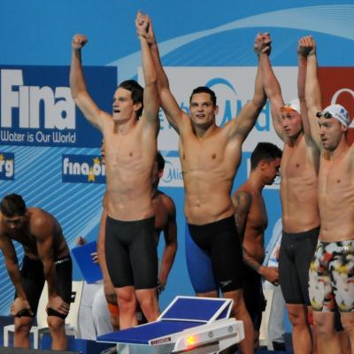 28JULIO2013 España, Francia, Estados Unidos y China protagonistas en el primer día de natación. Relevos para Francia. Foto: Manel Martin.