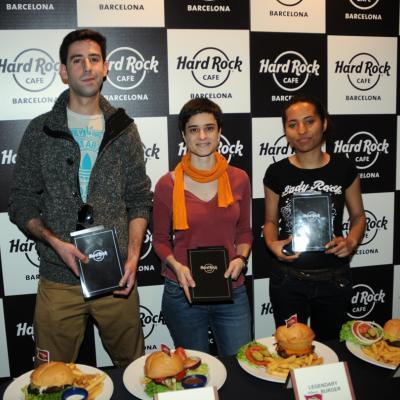 17ABRIL2013 Hard Rock Café ya tiene su hamburguesa Barcelona. Los tres finalistas. Foto: Montse Carreño.
