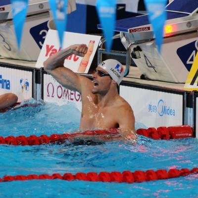 04AGOSTO2013 Clausura y medalla de plata de Mireia Belmonte.  50m espalda ganaddor Camille Lacourt.Foto: Manel Martin.