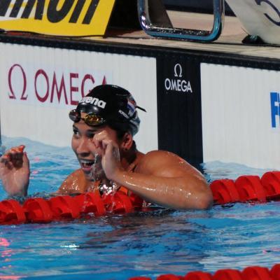 04AGOSTO2013 Clausura y medalla de plata de Mireia Belmonte. 50m libre, ganadora Ranomi Kromowidjojo.Foto: Manel Martin.