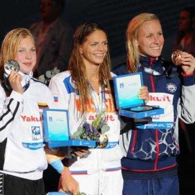 04AGOSTO2013 Clausura y medalla de plata de Mireia Belmonte. Ceremonia 50m braza con 3 récords mundiales. Foto: Manel Martin.