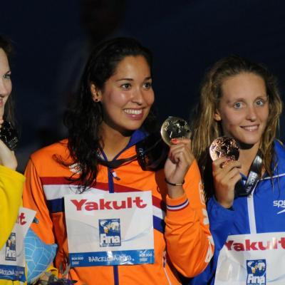 04AGOSTO2013 Clausura y medalla de plata de Mireia Belmonte.Ceremonia 50m libre.  Foto: Manel Martin.