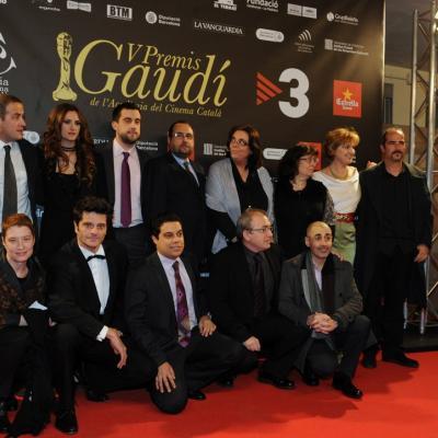 """03FEBRERO2013 Gala de los Premios Gaudi de la Academia del Cine Catalán.Grupo película """"Fenix 11.23"""". Foto: Manel Martin."""