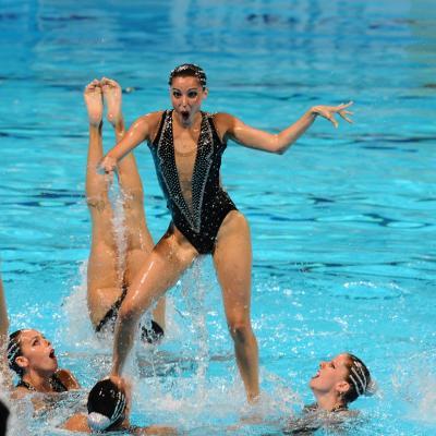 27JULIO2013 Medalla de plata en combo y Ona Carbonell que ganó siete medallas. España. Foto: Manel Martin.