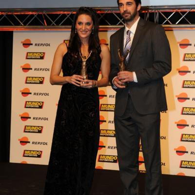 23ENERO2012 Entrega de los premios a los mejores deportistas españoles 2011.Andrea Fuentes y Juan Carlos Navarro.  Foto: Manel Martin.