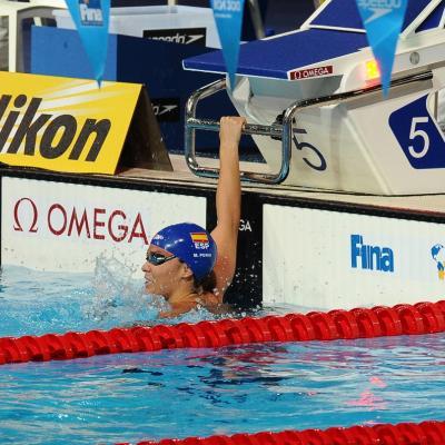 31JULIO2013 Sigue la natación en el Palau, pero el triunfo estuvo en el Moll de la Fusta, con el High Diving. Mercedes Peris.  Foto: Manel Martin.
