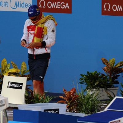 31JULIO2013 Sigue la natación en el Palau, pero el triunfo estuvo en el Moll de la Fusta, con el High Diving. Mireia Belmonte en semis 200m. mariposa. Foto: Manel Martin.