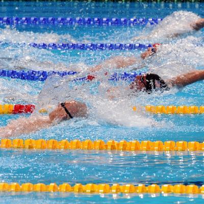 31JULIO2013 Sigue la natación en el Palau, pero el triunfo estuvo en el Moll de la Fusta, con el High Diving. Ryan Lochte en semis 200m. estilos. Foto: Manel Martin.