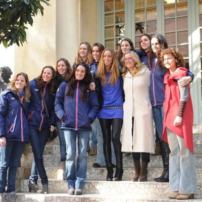 15FEBRERO2012  Rueda de prensa para anunciar su retirada definitiva de la natación sincronizada de Gemma Mengual. Con Anna Tarrés y compañeras. Foto: Manel Martin.
