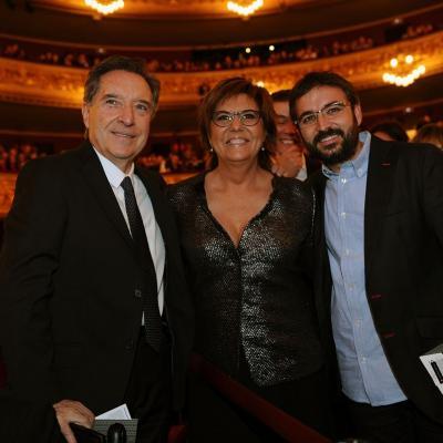 20NOVIEMBRE2013 Premios Ondas, en su 60 aniversario. Iñaki Gabilondo, María Escario y Jordi Évole. Foto: Manel Martin.