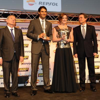 03FEBRERO2014 66ª Gala Mundo Deportivo.Mejores deportistas del 2013, Rafa Nadal y Mireia Belmonte, con autoridades.  Foto: Manel Martin.