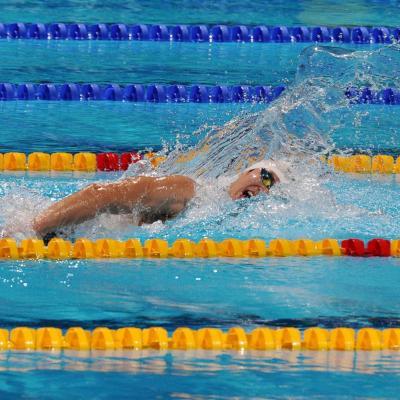 04AGOSTO2013 Clausura y medalla de plata de Mireia Belmonte. 1500m libre en acción el ganador Yang Sun. Foto: Manel Martin.