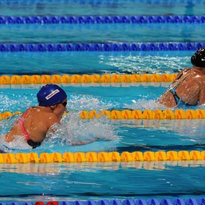 04AGOSTO2013 Clausura y medalla de plata de Mireia Belmonte. Las dos primeras clasificadas. Foto: Manel Martin.
