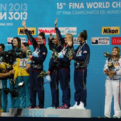 04AGOSTO2013 Clausura y medalla de plata de Mireia Belmonte. Ceremonia 4x100m relevo. Foto: Manel Martin.