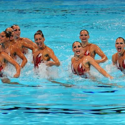 22JULIO2013 Tercera medalla para España, gracias a la sincronizada. Francia. Foto: Manel Martin.