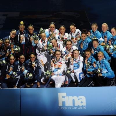 22JULIO2013 Tercera medalla para España, gracias a la sincronizada. España, Rusia y Ucrania. Foto: Manel Martin.
