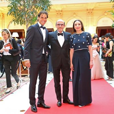 23MAYO2015La Fundación Rafael Nadal celebró en París su primera Gala Internacional. Rafa Nadal, Richard Mille y Luz Casal.