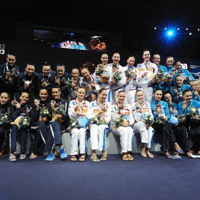 27JULIO2013 Medalla de plata en combo y Ona Carbonell que ganó siete medallas. Foto: BCN2013.