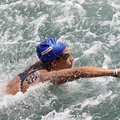 23JULIO2013 Erika Villaécija se queda sin medalla en los 10km. en aguas abiertas.Erika Villàcija en competición.  Foto: Manel Martin.