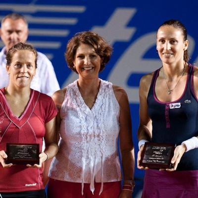 04MARZO2012 David Ferrer derrotó a su compatriota, Fernando Verdasco en la final del Torneo de Acapulco. Finalistas Lourdes Domínguez (i) y Arantxa Parra (d). Foto: Abierto México.