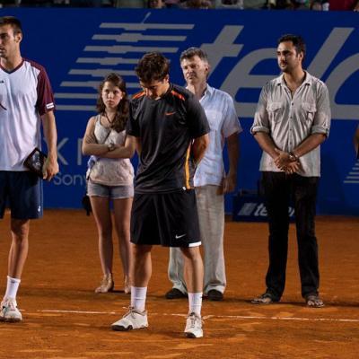 04MARZO2012 David Ferrer derrotó a su compatriota, Fernando Verdasco en la final del Torneo de Acapulco.Finalistas Granollers y López.  Foto: Abierto México.