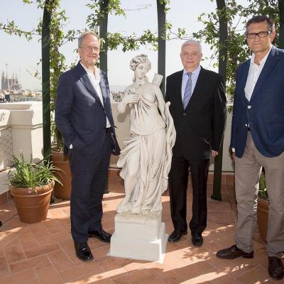 Julio2015 Antoni Falcón, Joan Valls y Josep Boncompte en el jardín del Palace.
