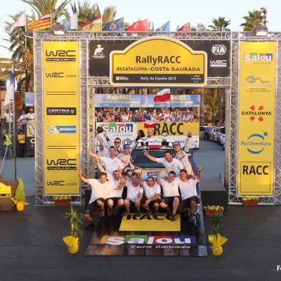 27OCTUBRE2013 Ogier campeón del Rally RACC y del Mundial.  Podio Kubica.