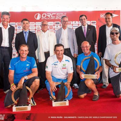 04JULIO2015 Barcelona ORC World Championship.Autoridades y los cuatro ganadores en cada categoría.  Foto: María Muiña.