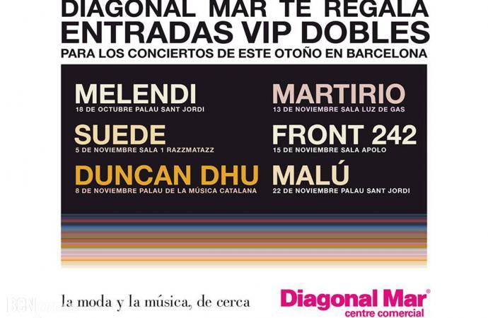 Diagonal Mar regala entradas Vip para los conciertos de este Otoño