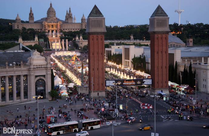 Concentración de Harley-Davidson en Barcelona